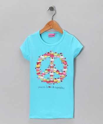Blue Pink 'Peace, Love & Cupcakes' Tee - Girls