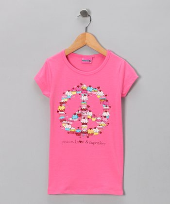 Pink 'Peace, Love & Cupcakes' Tee - Girls