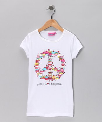 White 'Peace, Love & Cupcakes' Tee - Girls