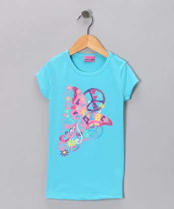 Blue 'Freedom, Love & Peace' Tee - Girls