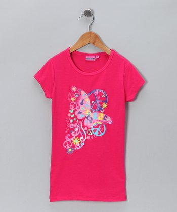Pink 'Freedom, Love & Peace' Tee - Girls