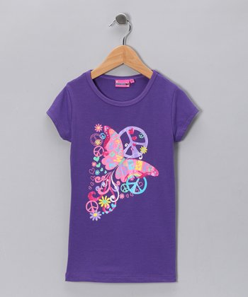 Purple 'Freedom, Love & Peace' Tee - Girls