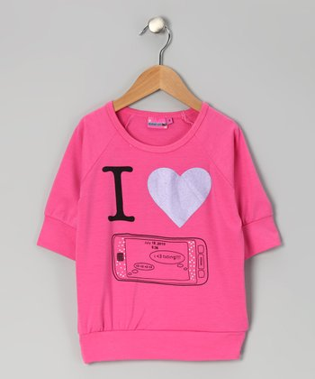 Pink 'I Heart Texting' Top - Girls