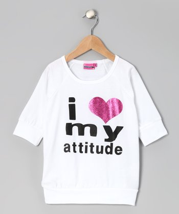 White 'I Heart My Attitude' Top - Girls