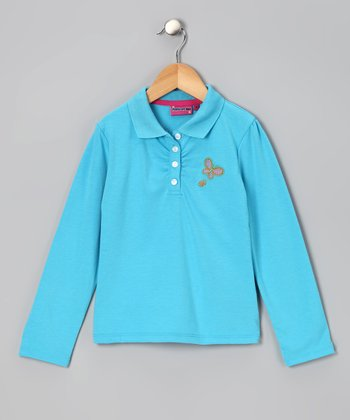 Aqua Butterfly Polo - Girls