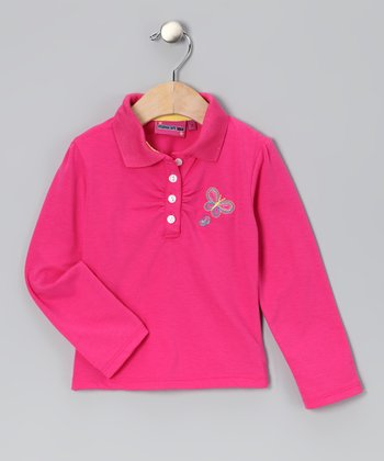 Pink Butterfly Polo - Toddler & Girls