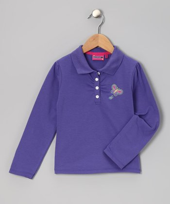 Purple Butterfly Polo - Toddler & Girls