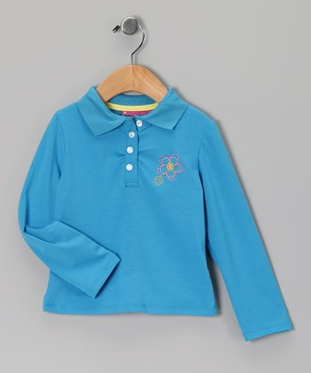 Blue Flower Polo - Toddler & Girls
