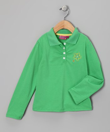Green Flower Polo - Toddler & Girls