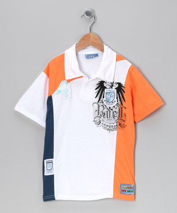 Orange '4' Polo - Toddler & Boys