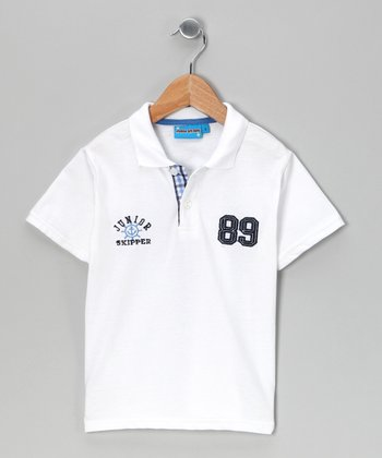 White '89' Polo - Toddler