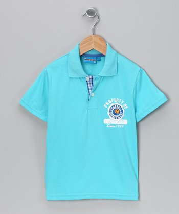 Blue 'Football' Polo - Toddler & Boys