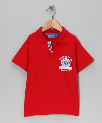 Red 'Football' Polo - Toddler & Boys