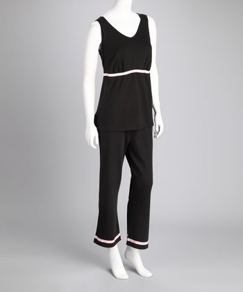 Black & Pink Maternity & Nursing Lounge Tank & Pants