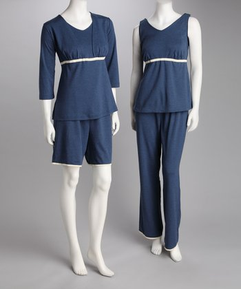 Denim Blue Maternity & Nursing Lounge Set