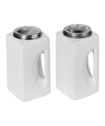 White EZ-Grip Salt & Pepper Shakers