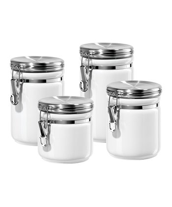White Round Canister Set