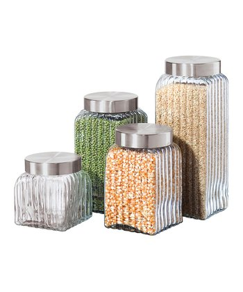 Ribbed Square Canister Set