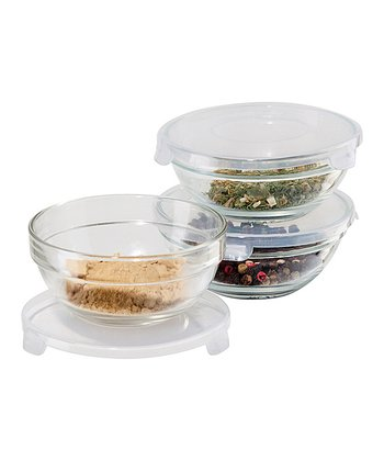 Clear Pinch-Lid Bowl - Set of Three