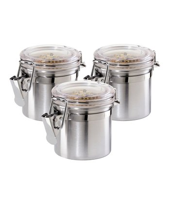 Stainless Steel Mini Clamp Canister - Set of Three