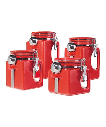Red EZ-Grip Canister Set
