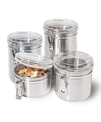 Stainless Steel Four-Piece Airtight Canister Set