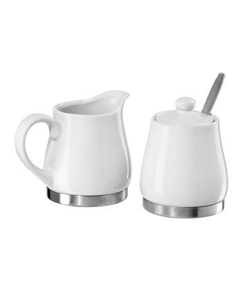 White & Silver Sugar & Creamer Set
