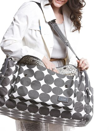 Dove Gray Dots Labor of Love Large Duffel Bag