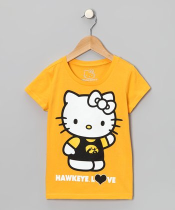 Yellow Iowa 'Hawkeye Love' Hello Kitty Tee - Girls