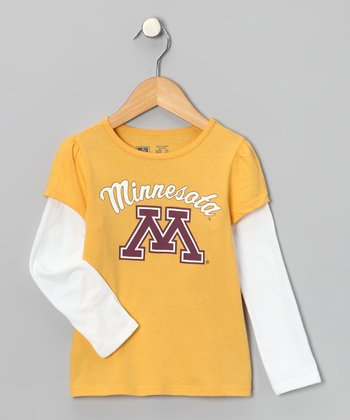 Yellow Minnesota 'M' Layer Tee - Toddler