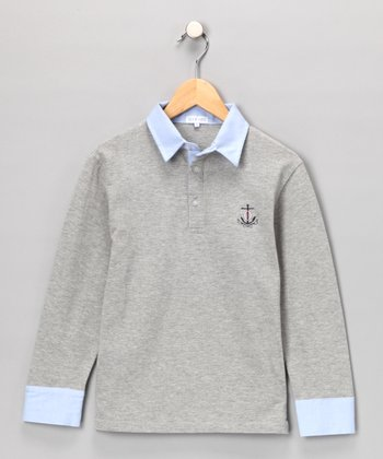 Gray & Light Blue Polo - Toddler & Boys