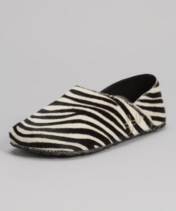 Black & White Zebrino Pony Hair Slip-On Shoe