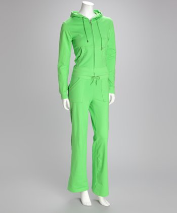 Candy Apple Green Zip-Up Hoodie & Lounge Pants