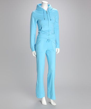 Powder Blue Zip-Up Hoodie & Lounge Pants