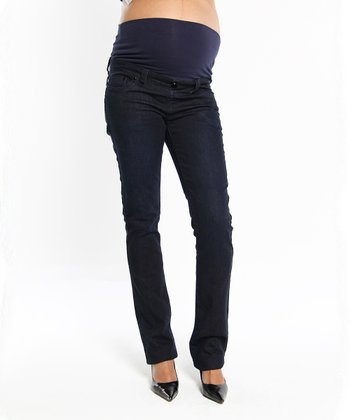 Oceanlily Dark Indigo Under-Belly Maternity Straight-Leg Jeans