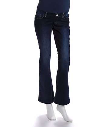 Oceanlily Dark Indigo Petite Over-Belly Maternity Bootcut Jeans