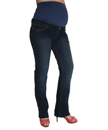 Oceanlily Dark Indigo Over-Belly Maternity Straight-Leg Jeans