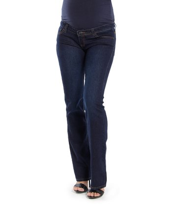 Oceanlily Dark Indigo Over-Belly Maternity Bootcut Jeans