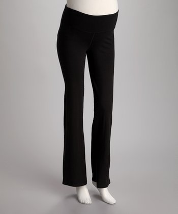 Oceanlily Black Mid-Belly Maternity Yoga Pants