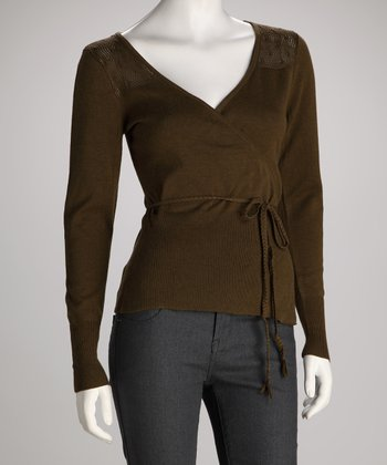 Seal Brown Star Organic Wrap Top - Women