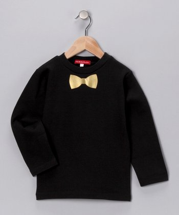 Oh Baby London Black Bow Tie Tee - Infant & Kids