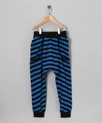 Blue & Black Stripe Harem Pants - Infant, Toddler & Kids