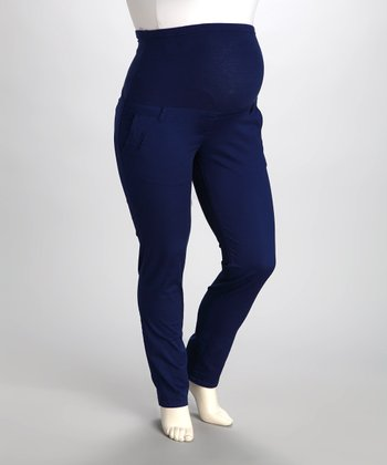 Cobalt Over-Belly Maternity Pants