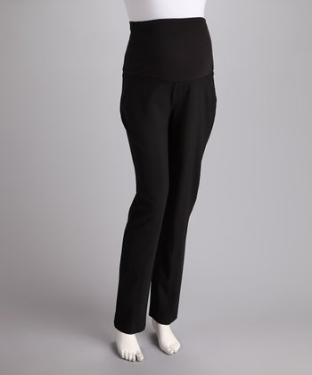 Black Over-Belly Maternity Trousers - Women