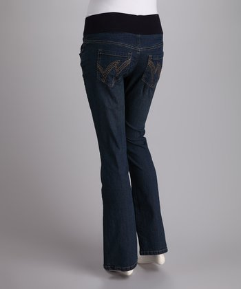 Medium Wash Under-Belly Maternity Straight-Leg Jeans