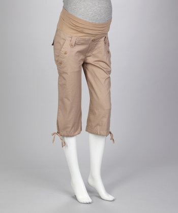 Khaki Sailor Over-Belly Maternity Capri Pants