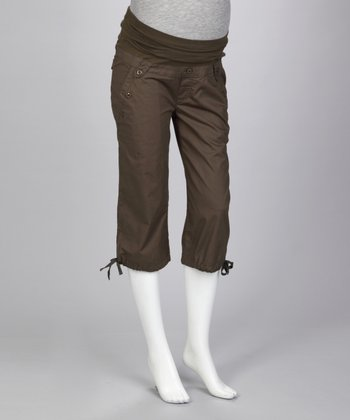 Olive Sailor Over-Belly Maternity Capri Pants