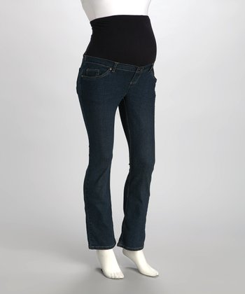 Medium Wash Over-Belly Maternity Straight-Leg Jeans