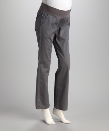 Light Gray Under-Belly Maternity Bootcut Pants