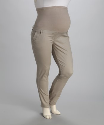 Stone Wash Over-Belly Maternity Pants